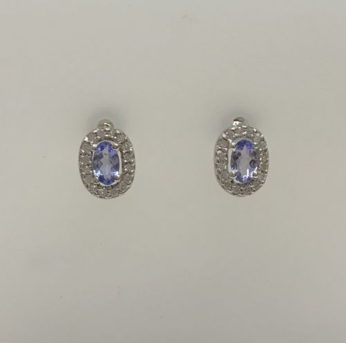 Oval Cluster Tanzanite And Diamond White Gold Earrings